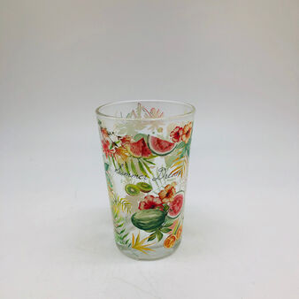 Glass water glass with tropical motif