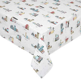 100% cotton tablecloth with city print