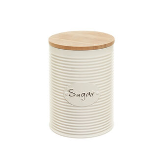 Enamelled tin  and bamboo sugar canister