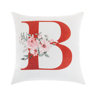 Cotton cushion cover with B print 45x45cm