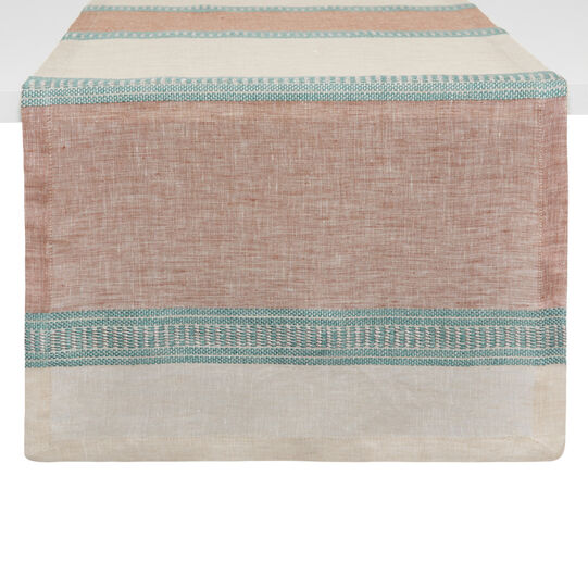 Striped table runner in yarn-dyed linen blend