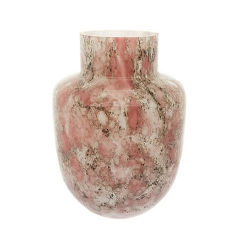 Coloured glass vase with marble effect