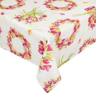 Tovaglia puro cotone stampa corona floreale