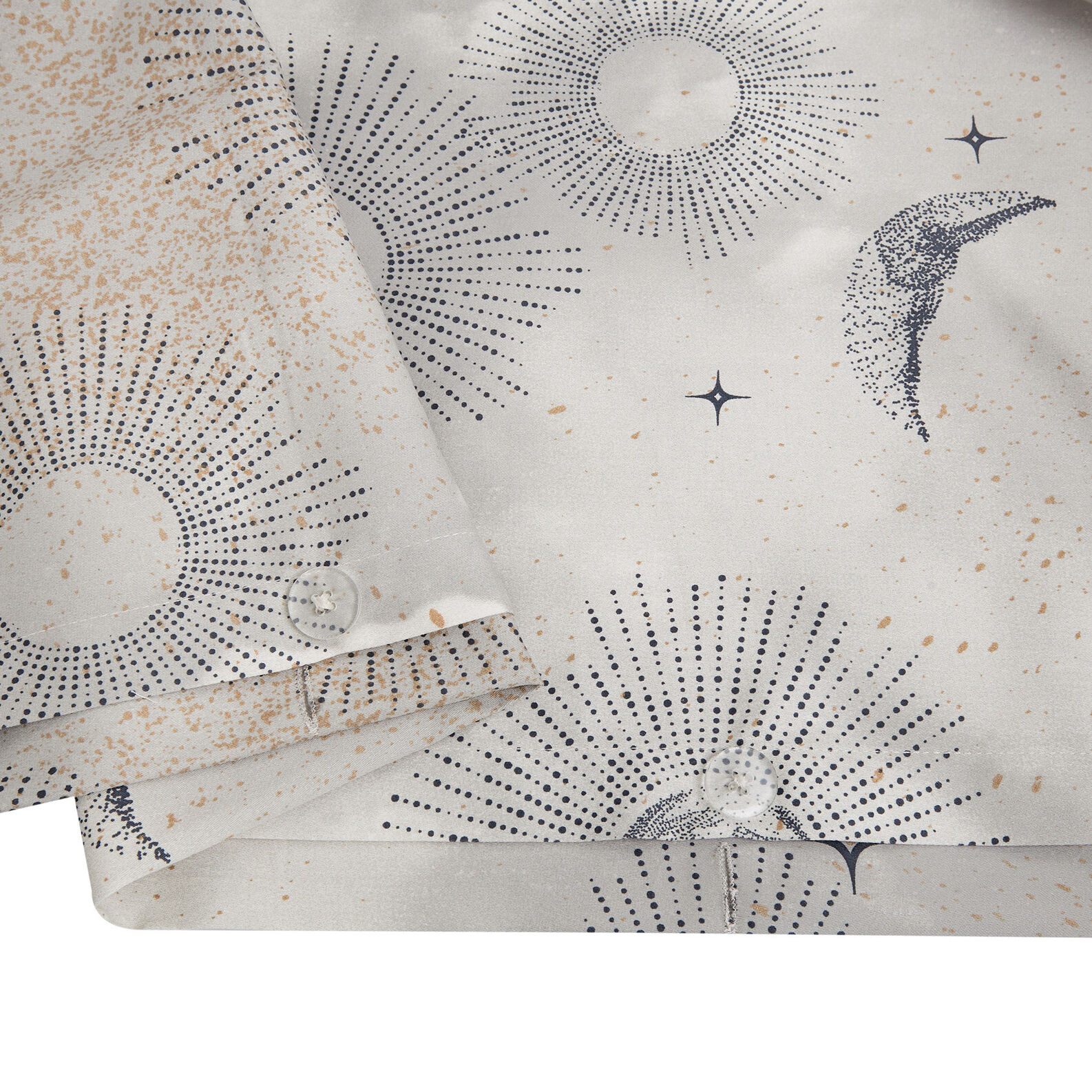 Sun and moon patterned duvet cover in cotton satin