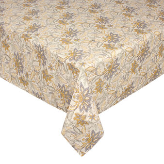 Cotton and linen tablecloth with stylised flower print