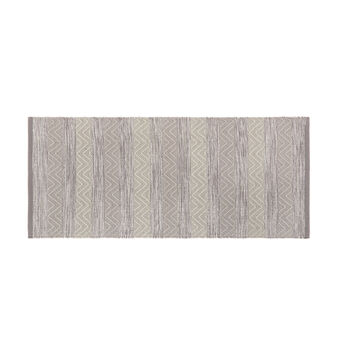 Kitchen mat in 100% yarn-dyed cotton with geometric motif