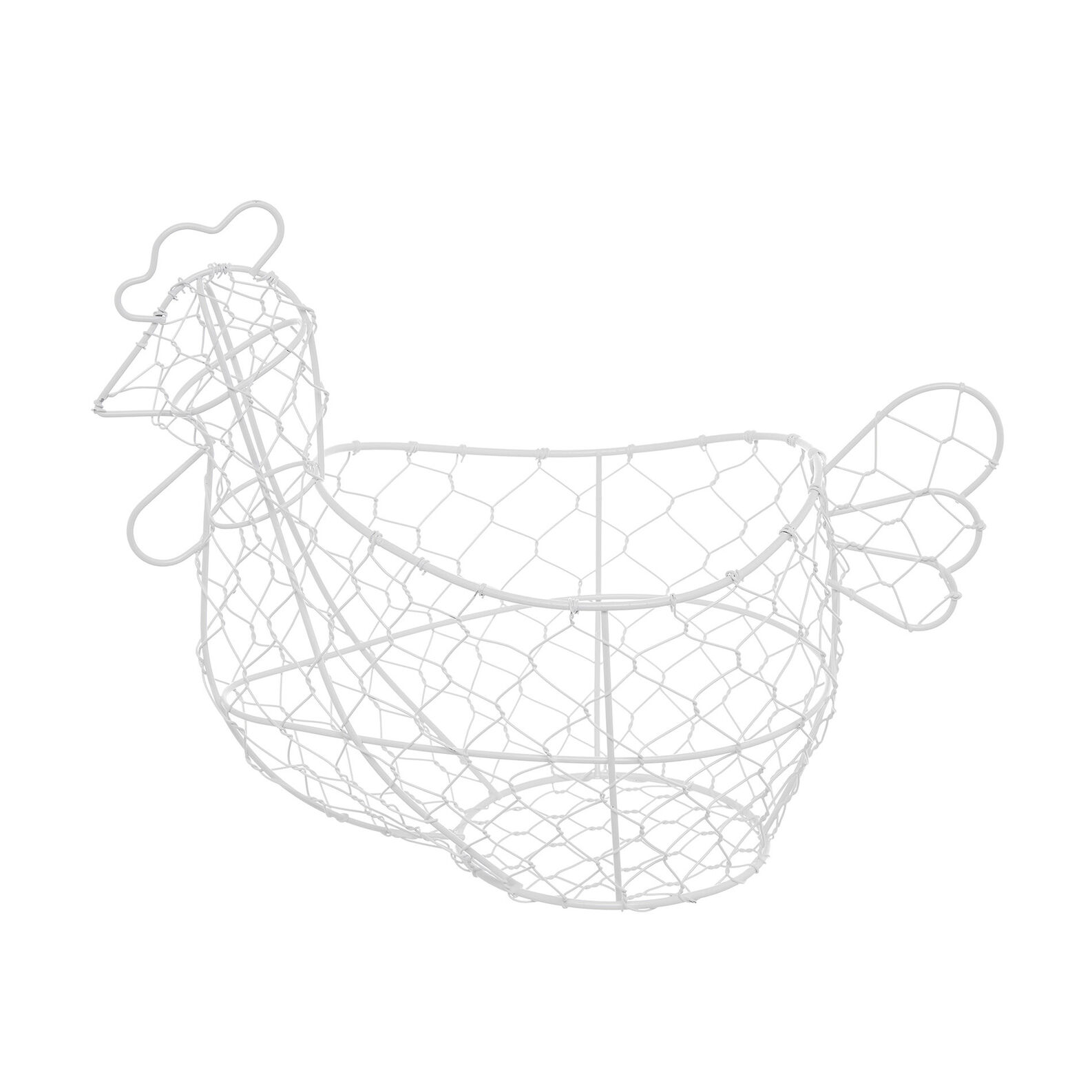 White thread hen basket