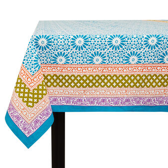 100% cotton tablecloth with placed block print