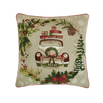 Cushion with embroidered Christmas motif 45x45cm