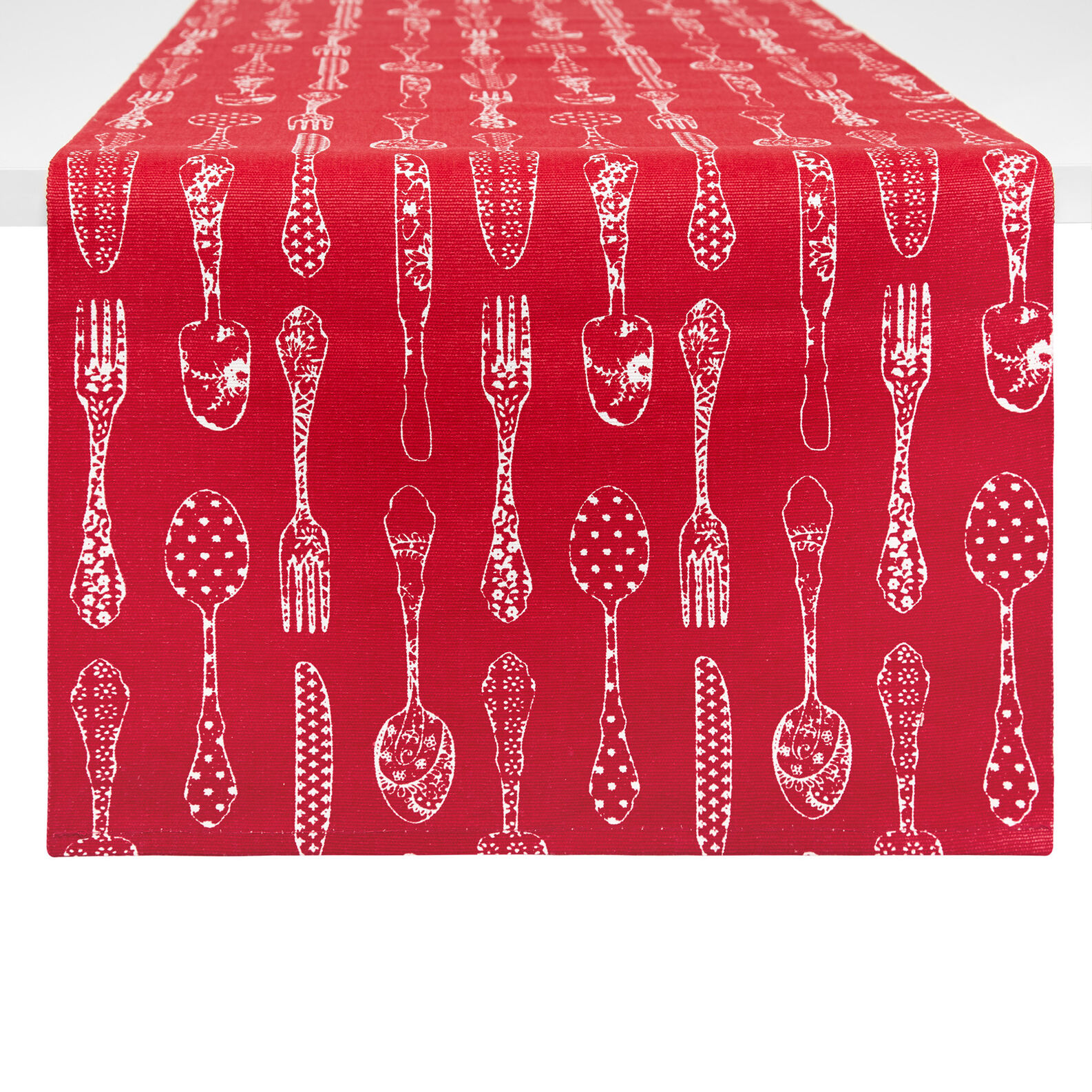 100% cotton table runner with cutlery print