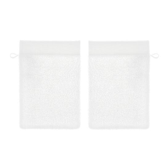Set 2 guanti bagno puro cotone con bordo rigato