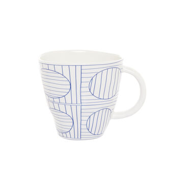 Porcelain mug with geometric motif