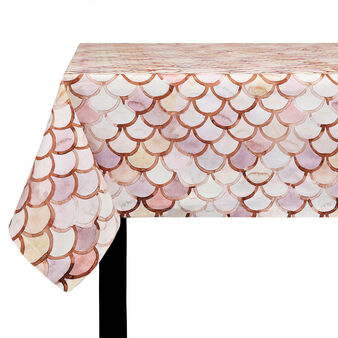 Cotton twill tablecloth with mosaic print