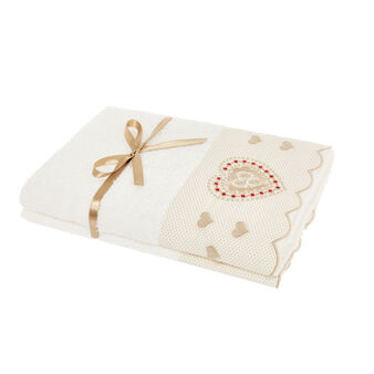 Set of 2 towels with flounce and embroidered snowflakes