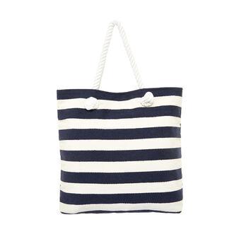 Striped cotton beach bag