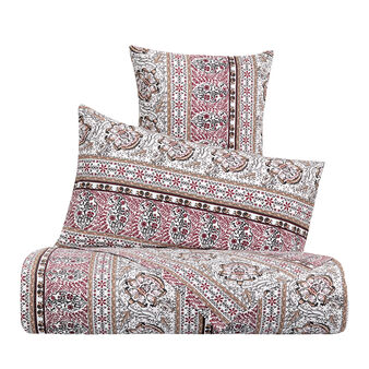 Cotton percale duvet cover set with ethnic pattern