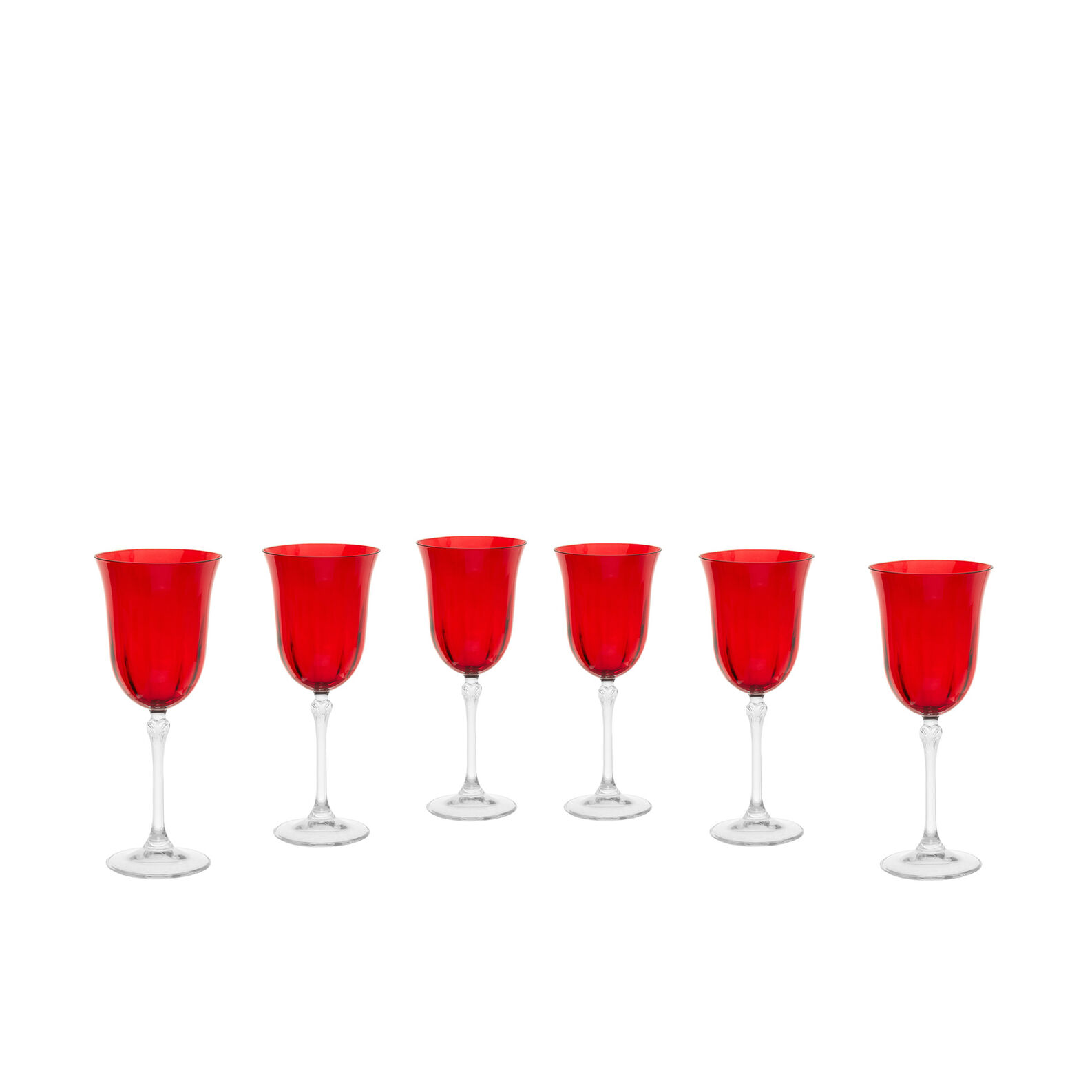 Set of 6 water goblets in red glass