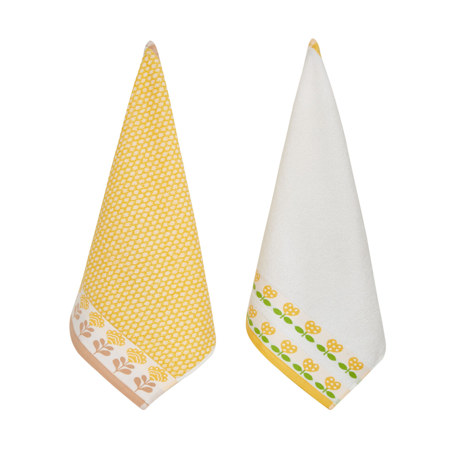 2-pack tea towels in cotton terry with embroidery