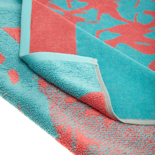 Velour cotton beach towel pineapple motif