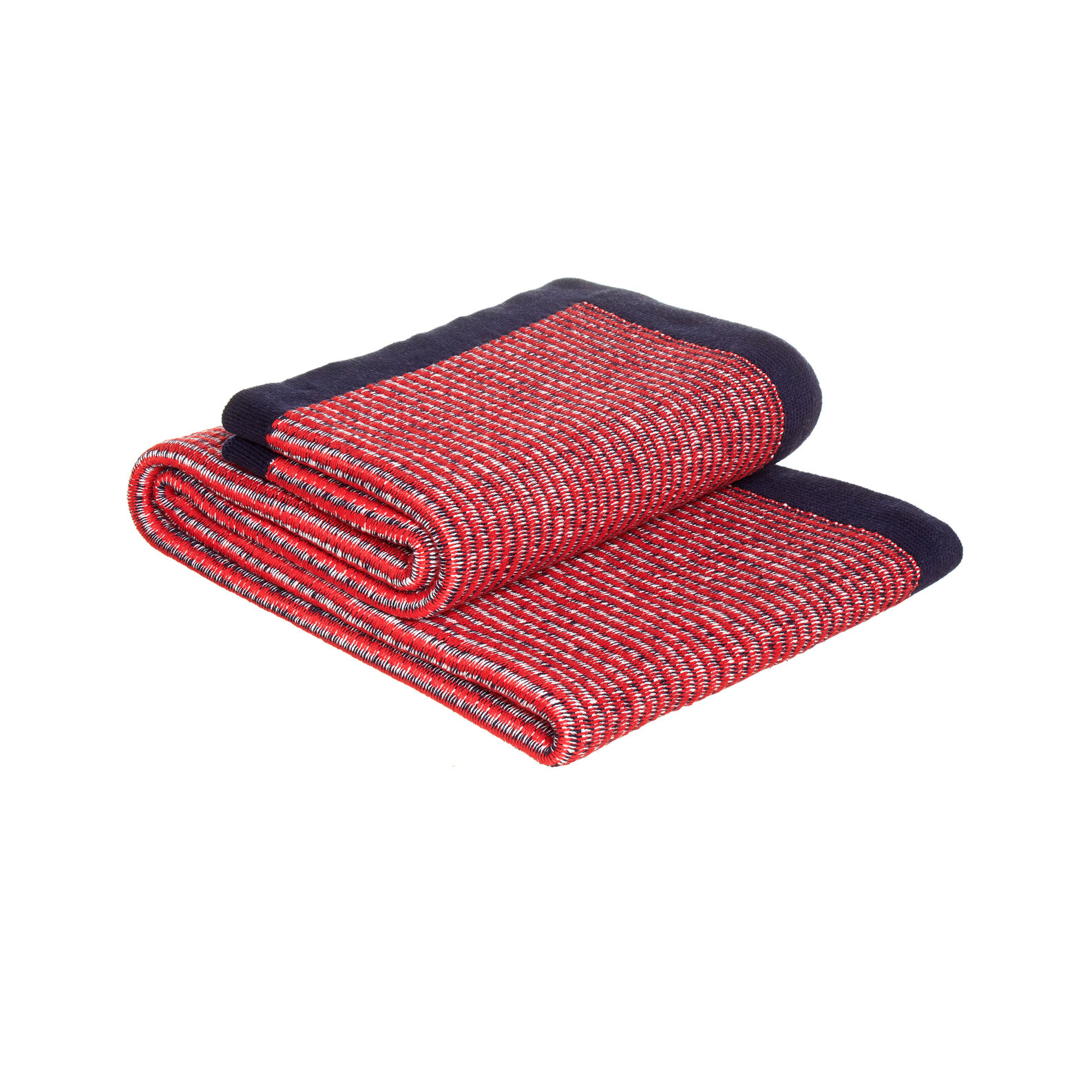 100% knitted cotton throw with trim