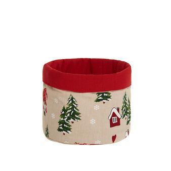 Cestino portatutto puro cotone stampa natalizia