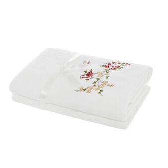 Set 2 asciugamani ricamo uccellini