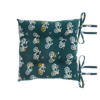 Seat pad in 100% cotton with bicycles print