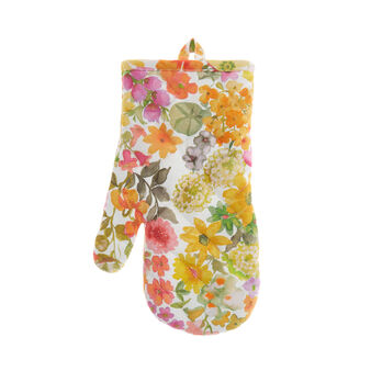 100% cotton oven mitt with small flowers print