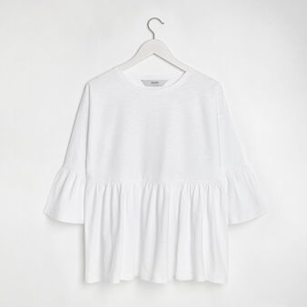 Cotton jersey top with frill detail