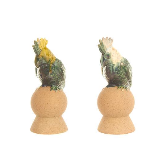 Pappagalli su sfera in ceramica