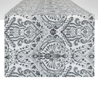 Cotton twill table runner with ornamental motif