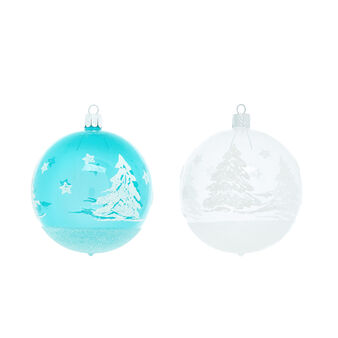 Bauble with forest in hand-blown glass D8cm