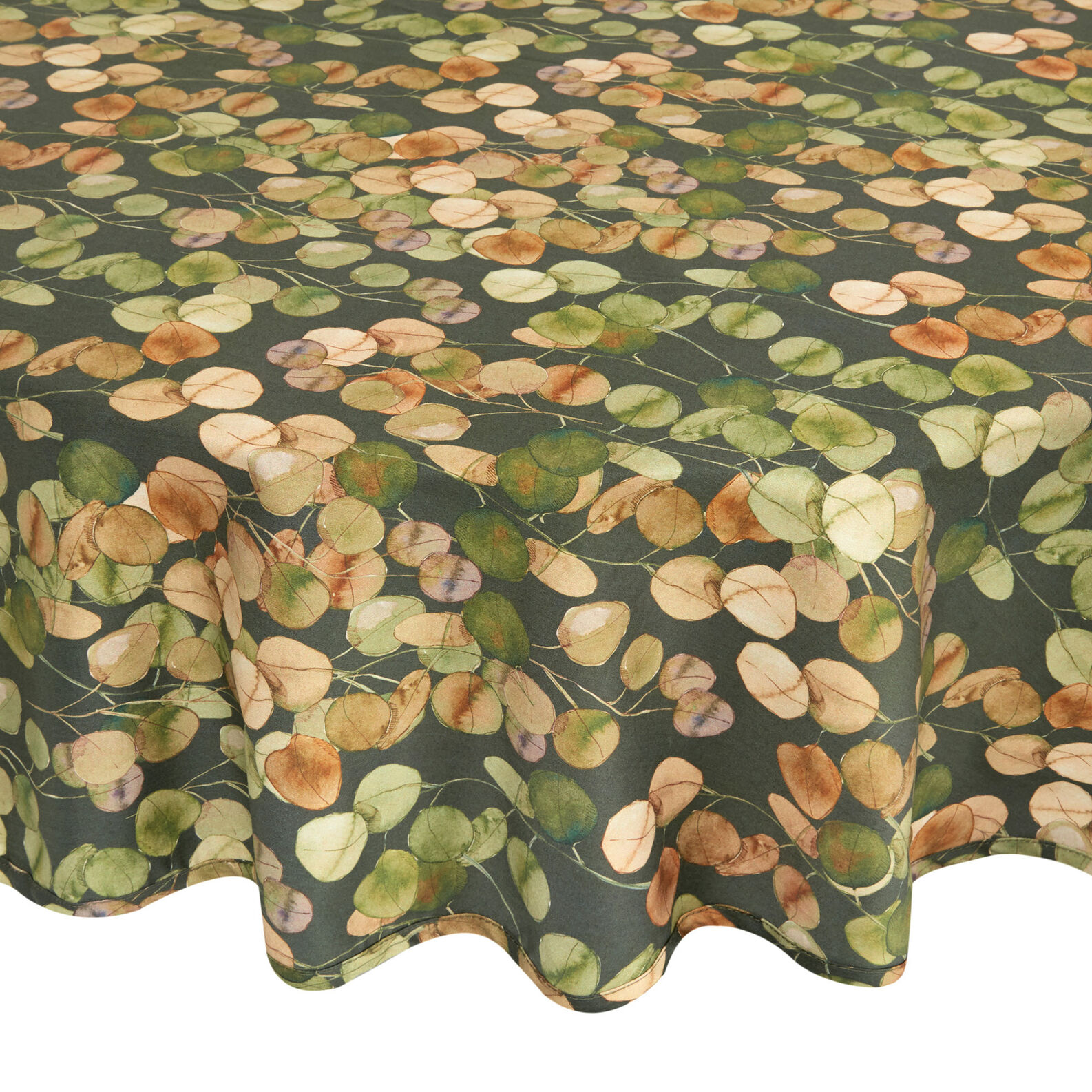 Round 100% cotton tablecloth with leaf print