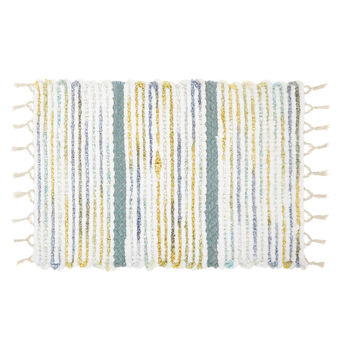Cotton bath mat with stripes