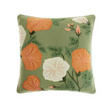 Cotton cushion with floral appliqués and embroidery (45x45cm)
