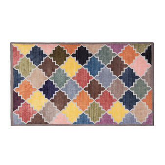 Hand-woven rug with diamond motif