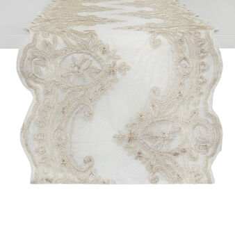 Table runner with Arabesque lurex embroidery
