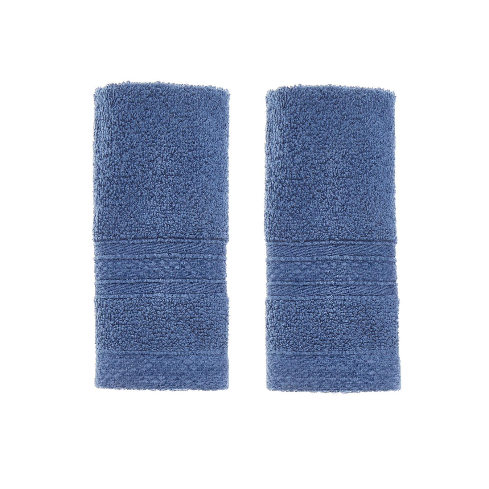 Set of solid colour cotton terry face cloths