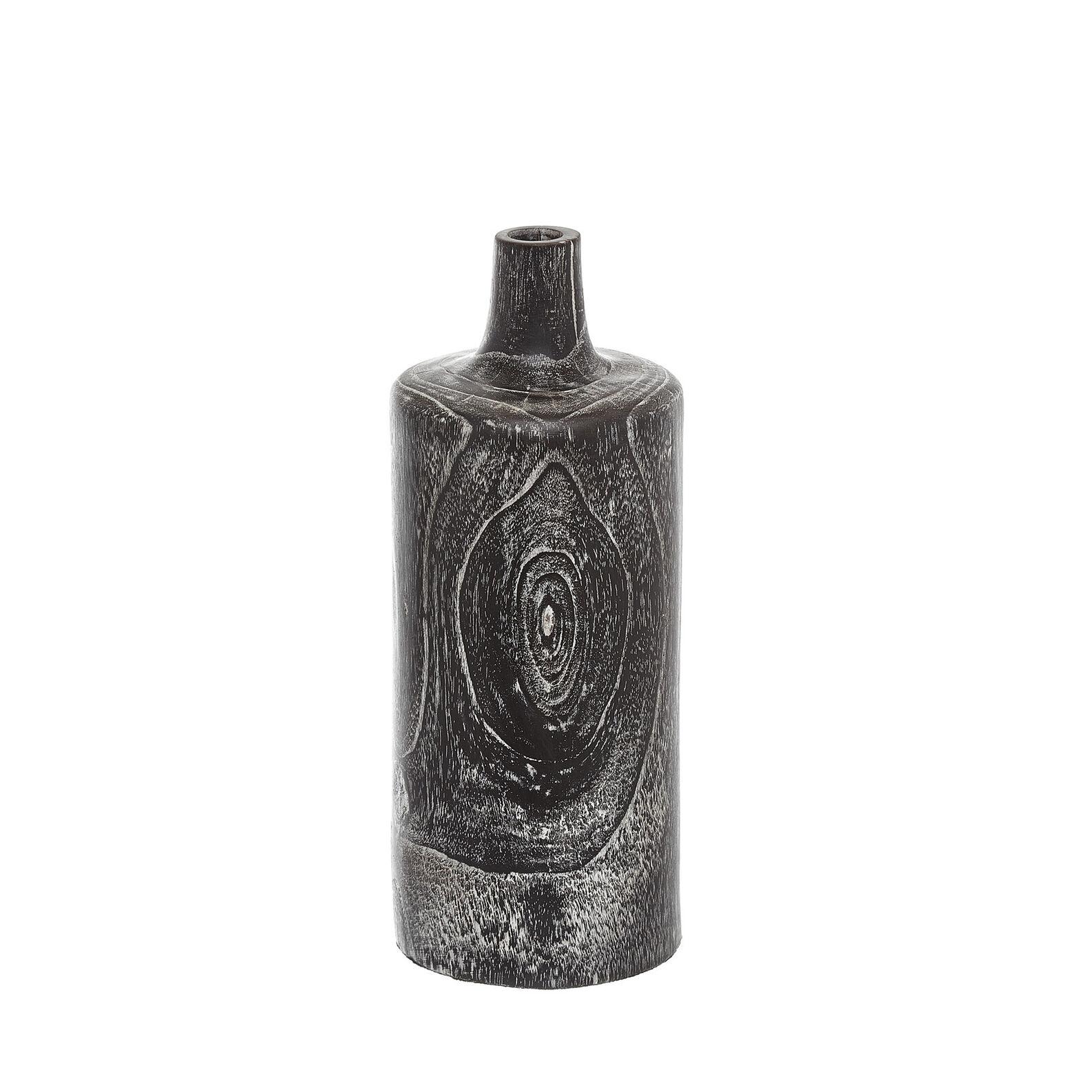 Handmade decorative teak bottle