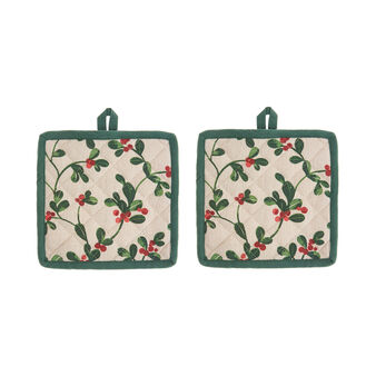 2-pack pot holders in 100% cotton with mistletoe print