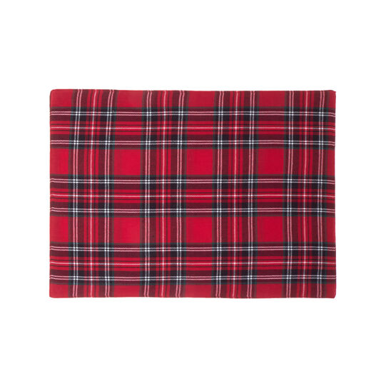 Table mat in cotton twill with tartan motif