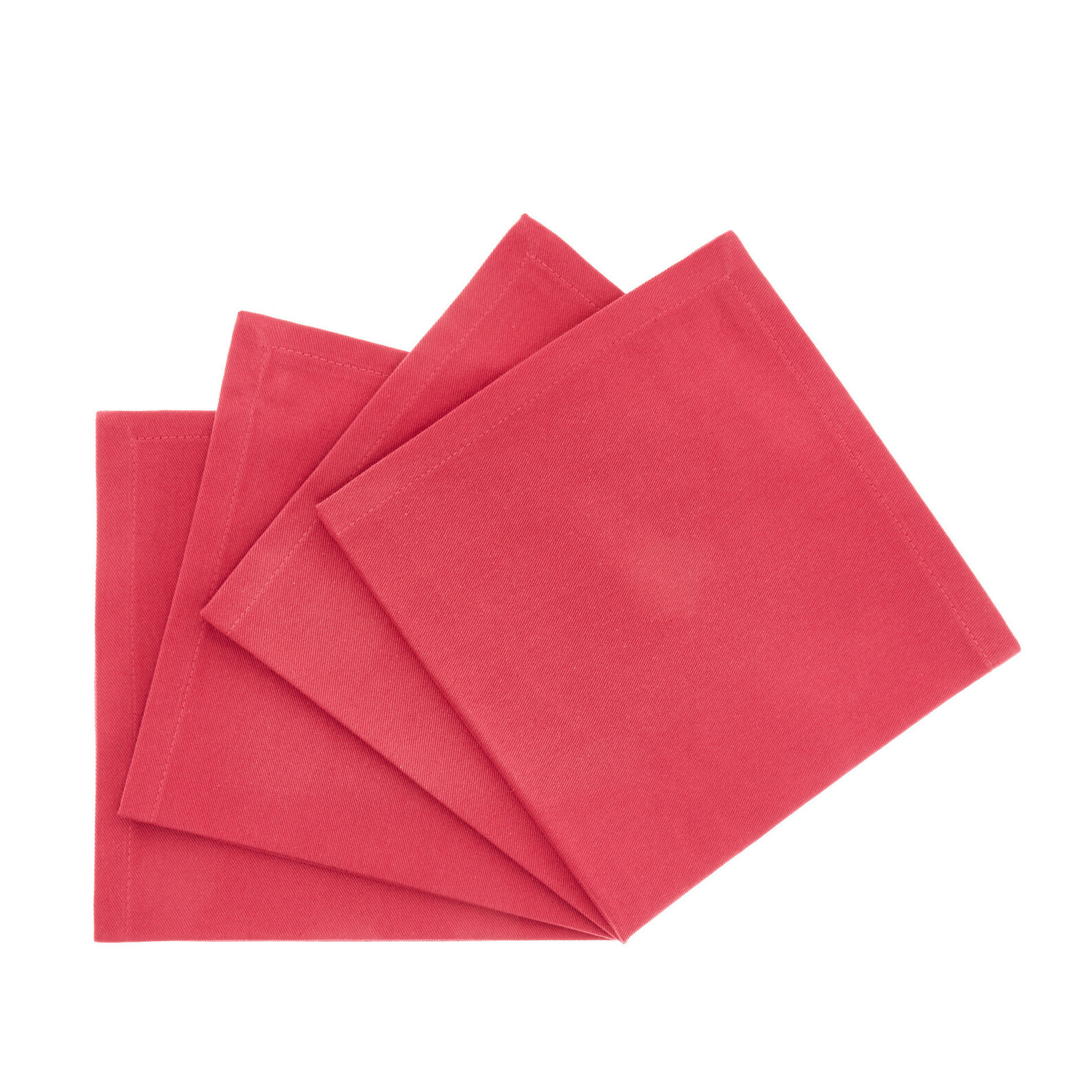 Set of 4 napkins in solid colour cotton twill