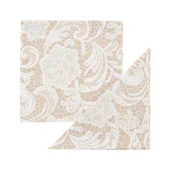 Two-pack 100% cotton napkins with Lace print