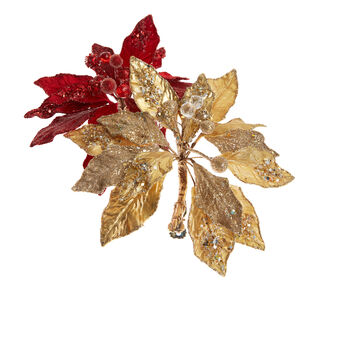 Hand-decorated jewelled poinsettia with clip