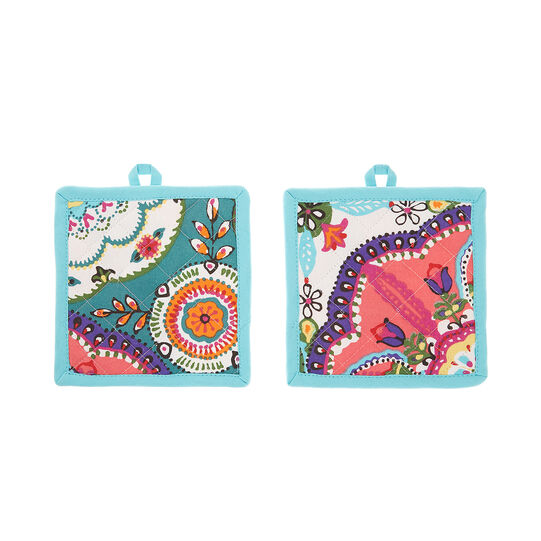 2-pack pot holders in 100% cotton with abstract print