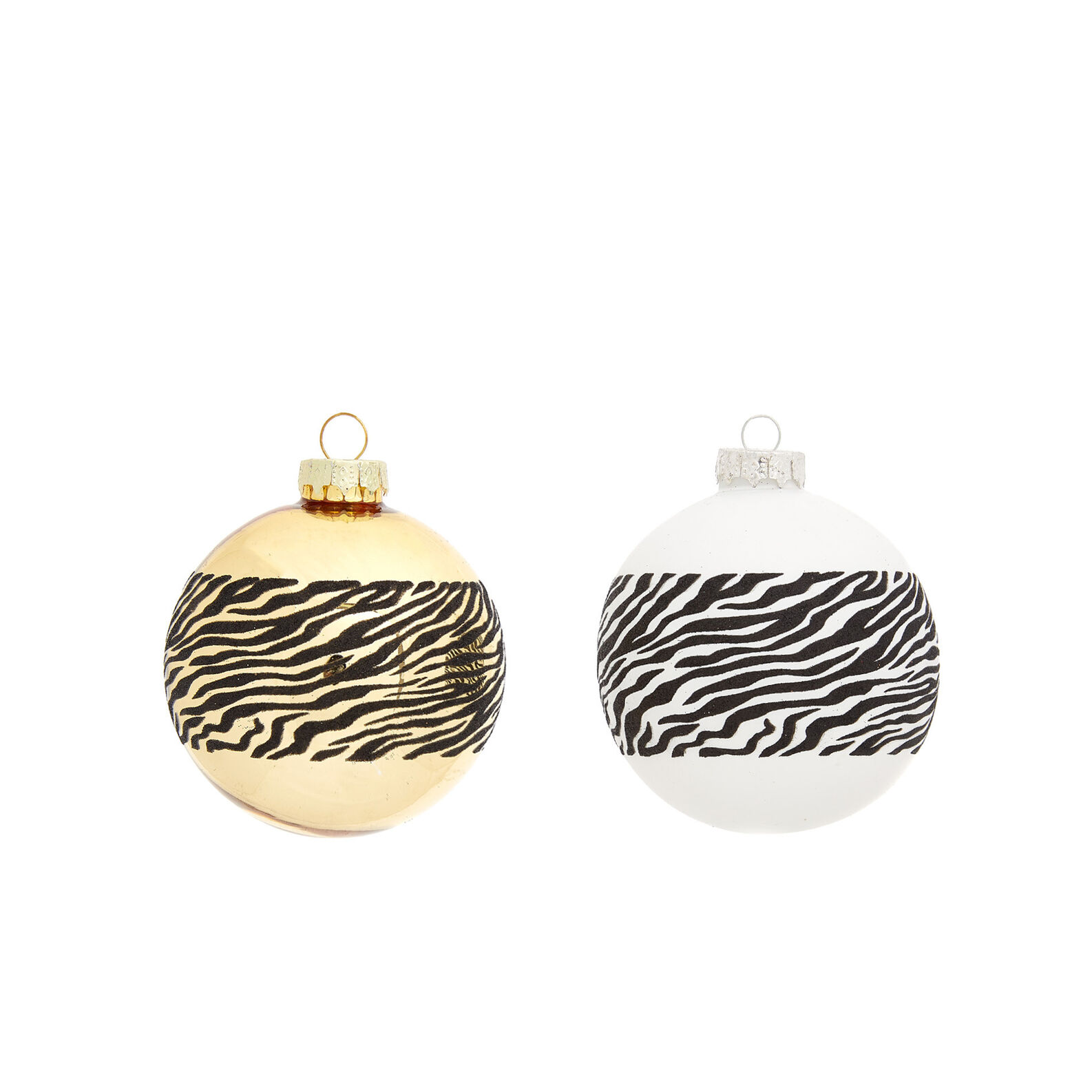 Hand-decorated bauble with zebra stripes
