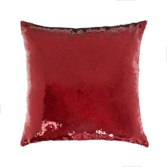 Cuscino con paillettes rosse
