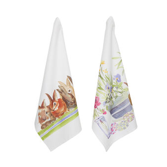 Two-pack cotton twill tea towels by Sandra Jacobs design