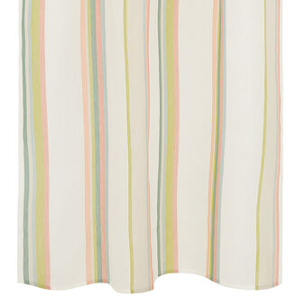Linen blend curtain with striped design and concealed loops