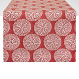 Cotton blend and lurex table runner with spheres motif